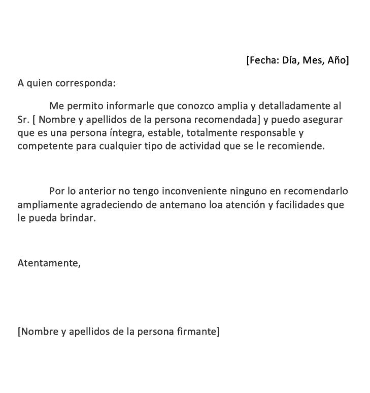 Carta De Recomendación Personal Cómo Se Hace Tipos Ejemplos